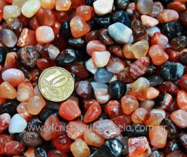 Agata Cornalina Rolada T Médio Pacotinho 200Gr Pedra Natural Comum Qualidade