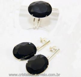 Conjunto Anel e Brinco Cabochão Facetado Obsidiana Negra na Garra Prata 950 Reff 110764