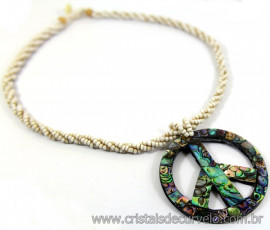 Maxi Colar Simbolo Peace and Love de Abalone Cod 110750