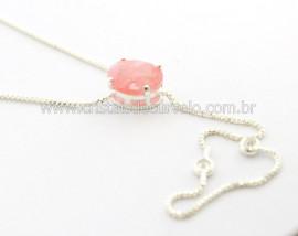 Colar Gravata Pedra Quartzo Rosa Gema Prateado Reff CG7468