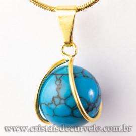 Pingente Bolinha Turquesa Azul Pedra Envolto Montagem Dourada