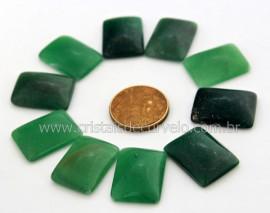 10 Retangulo Cabochao pra Pingente Pedra Quartzo Verde Lapidado Calibrado 15 x 20 MM