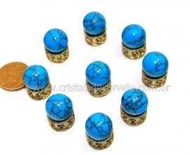 3 Bolinha Pedra Howlita Azul 14mm Sem Furo REFF BS4223