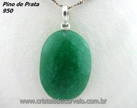 Pingente Cabochão Pedra Aventurina Verde Castoação Prata 950 Pino e Perinha