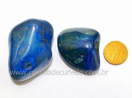 02 Agata Azul Rolado Pedra Natural de Garimpo Esoterismo Colecionador Reff 52.7