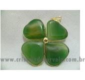 Trevo da Sorte Quartzo Verde Trevinho 04 Folhas Pingente Banho Flash Dourado