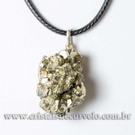 Pingente Pirita Peruana Natural Pedra da Prosperidade Prata 950