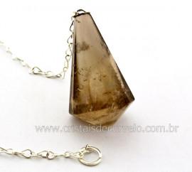 Pendulo CRISTAL FUMÊ Piramidal ou Invertido Pedra Murion Corrente de Brinde