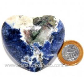 Coração Sodalita Pedra Azul Natural de Garimpo Cod 124089