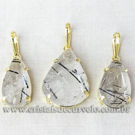 Pingente Gota Turmalina Incrustada Garra Dourada Reff 112555