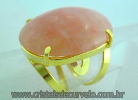 Anel Quartzo Morango Cabochão Oval Montagem Flasch Dourado Aro Ajustavel