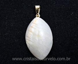 Pingente Navete Folha Feldspato Pedra Natural Montagem Presilha Banho Dourado