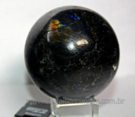 Esfera Espectrolita ou Labradorita Pedra Importada Linda Relusencia Ao Sol Cod 426.3