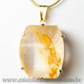 Pingente Pedra Hematoide Amarelo Baguette Garra Dourada 112955