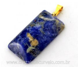 Pingente Retangular Liso Sodalita Azul Montagem Pino Argola Dourada
