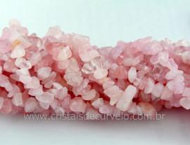 Fio Quartzo Rosa Cascalho Extra Furado a Laser Pedra Natural Rolada e Furado 1 METRO