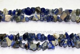 Fio Sodalita e Quartzo Azul Cascalho Extra Furado a Laser Pedra Natural Rolada e Furado 90cm