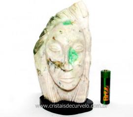 Busto de Artesanato Rosto Esculpido Pedra Esmeralda Cod RE2609