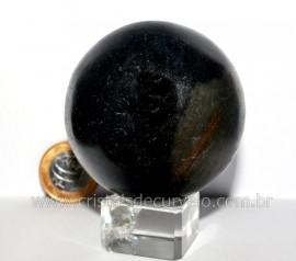 Esfera Basalto Preto Pedra Natural de Garimpo Com Lapidação Manual Cod 356.3