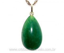 Pingente Gota Pedra Quartzo Verde Castoação Prata 950 Pino e Perinha