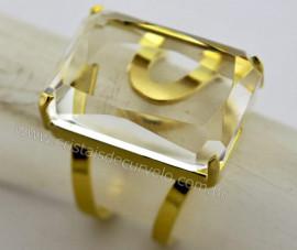 Anel Cristal Facetado Pedra natural de Garimpo Banho Flash Dourado Aro Ajustavel REF 22.5