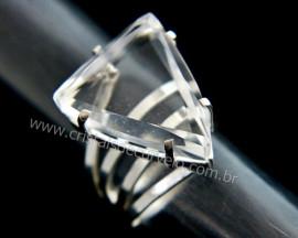 Anel Pedra Cristal Trillion Prata 950 Ajustavel Cod AC3069