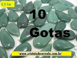 10 Gotas VERDE Pedra Quartzo Pingente Banhado Prata