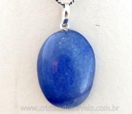 Pingente Cabochão Quartzo Azul Castoação Prata 950 Pino e Perinha