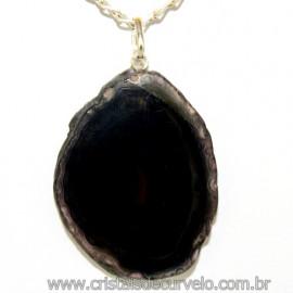Pingente Chapa de Agata Negra Pino Prata 950 Reff 109904