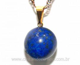 Pingente Bolinha Pedra Lapis Lazuli Pino Dourada Reff PB4184
