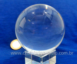 Esfera Bola de Cristal Pedra Quartzo Extra Transparente Tamanho G Cod 720.8