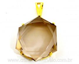 Estrela de Davi Pingente Pedra Cristal Com Tok Fume na Garra DOURADO