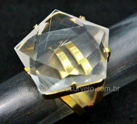 Anel Wicca Pentagrama Pedra Cristal Aro Ajustavel Dourado