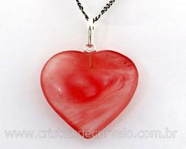 Pingente Coração Pedra Quartzo Cereja natural Castoação Prata 950 Pino e Perinha