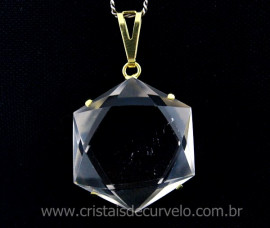Estrela de Davi Pingente Pedra Cristal Montagem na Garra Banho Dourado
