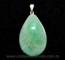 Pingente Gota AMAZONITA VERDE Pedra Natural Pino Prateado