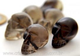 10 Mini Crânios Esculpidos em Pedra Natural QUARTZO FUMÊ (Não Pingente ATACADO)