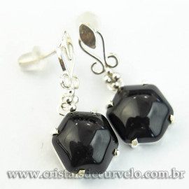 Brinco Estrela Davi Pedra Obsidiana Negra na Garra Prata 950