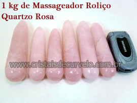 1 kg Massageador Cristal Quartzo Rosa Roliço Massagem Terapeutica Com Pedras