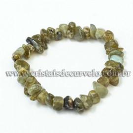 Pulseira Cascalho Pedra Labradorita Fio Silicone Reff 120431