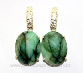Brinco Pedra Esmeralda Oval Facetado Prata 950 Reff BP5909