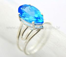 Anel Gema Topazio London Blue Prata Aro Ajustavel Reff AP5773