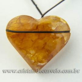 Pingente Pedra Coração Hematoide Amarelo Difusor Aromaterapia