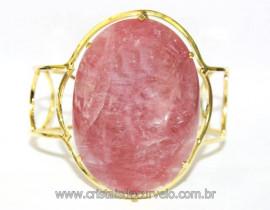 Bracelete Fixo Pedra Quartzo Morango Grande Dourado REFF BG8436