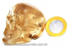 Crânio Citrino Natural Caveira Esculpido Skull Stone Cod CC6711