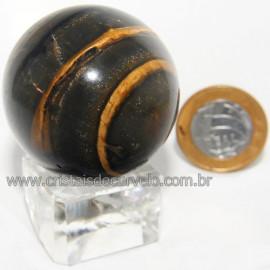 Bola Onix Preto Pedra Natural Lapidado Artesanal Cod 118748
