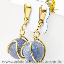 Brinco Bolinha Cesta Quartzo Azul Pino Banho Dourado 112802