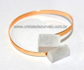 Bracelete de Selenita Ajustável Dourado Reff BS4241