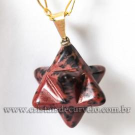 Pingente Merkabah Pedra Obsidiana Mahogany Natural Pino Dourado