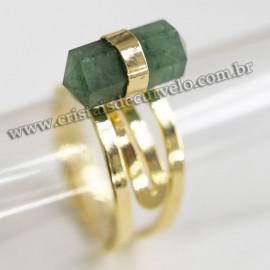 Anel Pontinha Pedra Quartzo Verde Ponta Ajustavel Dourado 113135